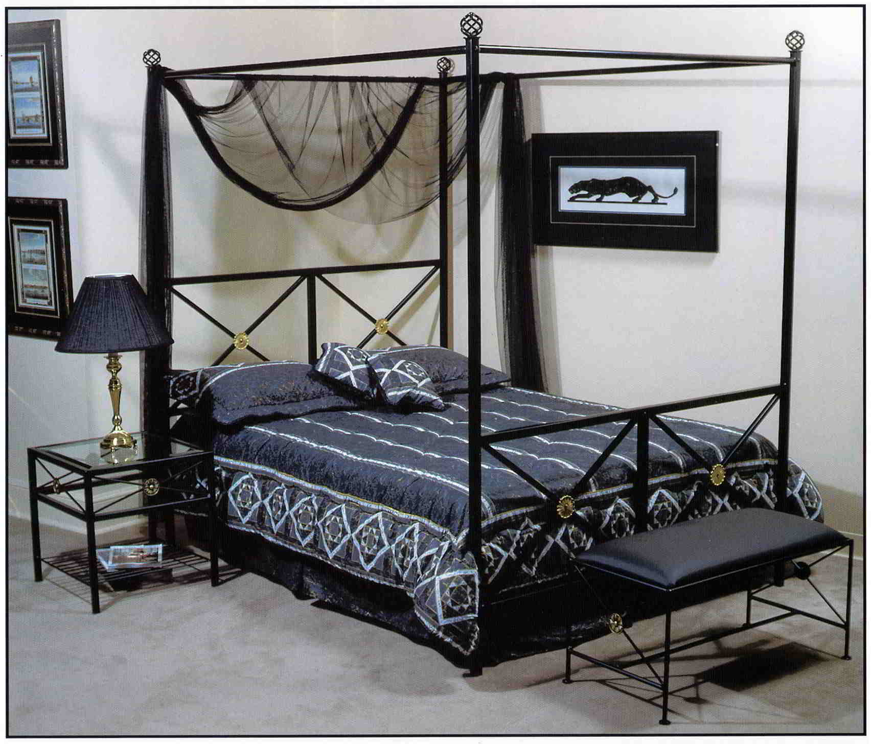 wrought iron neoclassic canopy bed