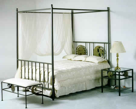 Sun and Moon celestial pattern wrought iron bed with canopy