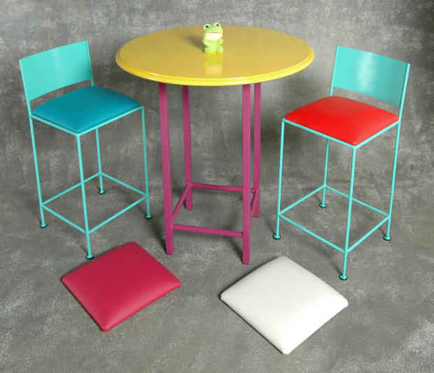 Low back bar stool bistro set in bold colors