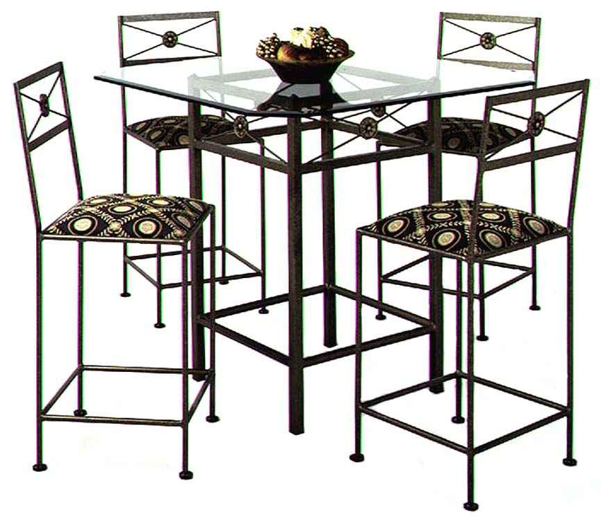 modern neoclassic wrought iron bar stool and table dining group with glass top - Wrought Iron Bar Stools