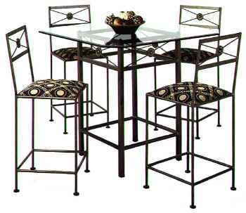 Modern Neoclassic wrought iron bar stool and table dining group with glass top