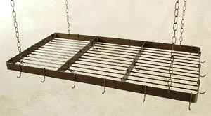 Rectangular Pot Rack in Wrought Iron With Heavy Hooks and Chai n