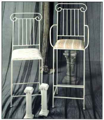 roman column style wrought iron bar stool and counter stool pair with upholstered seat cushions