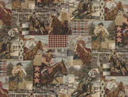Rodeo cowboys and horses fabric