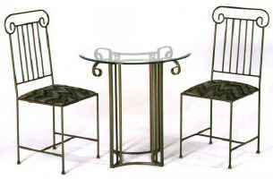 Roman column iron bistro chairs and table with glass