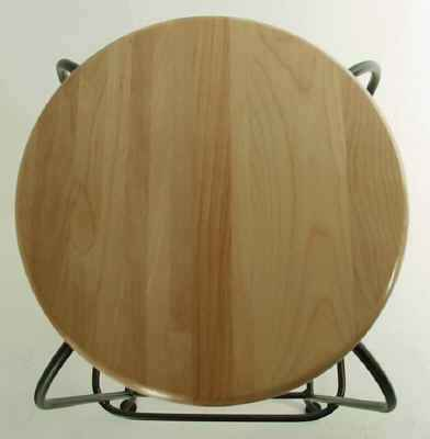Round wooden seat option for our wrought iron swivel bar stools