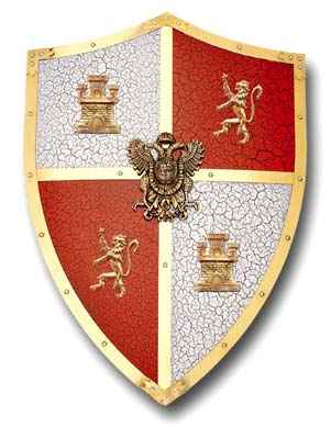 El Cid medieval shield with red and white quadrants and brass accents