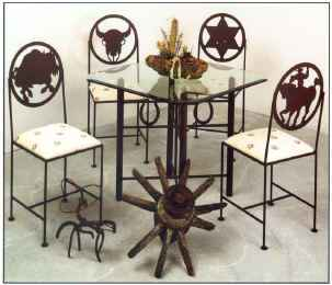 Wrought iron dining group with Western styling shown with glass top
