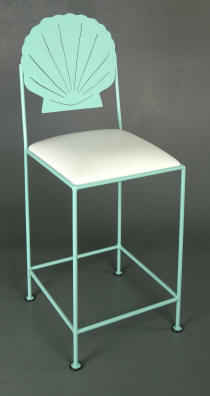 Scallop bar stool in teal