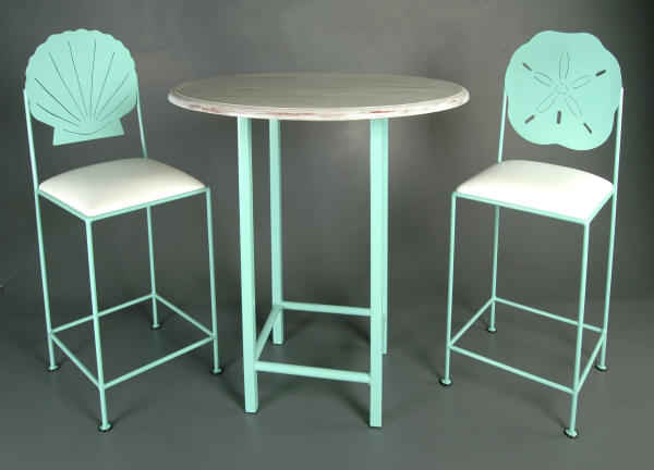 Seashells bistro set in teal finish