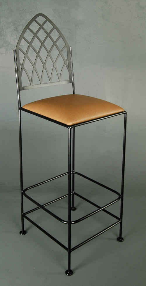 Cathedral back bar stool with 30 inch seat height