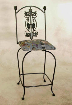 Grapes Swivel Bar Stool - Wrought Iron Black Finish With Upholstered Seat