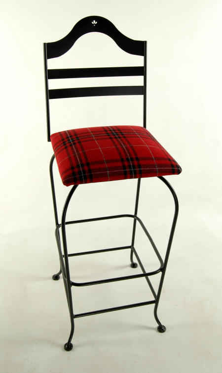 Grace Swivel Bar Stool in black with red plaid upholstered seat