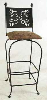 Wrought iron swivel bar stool mwith leaves pattern metal back design