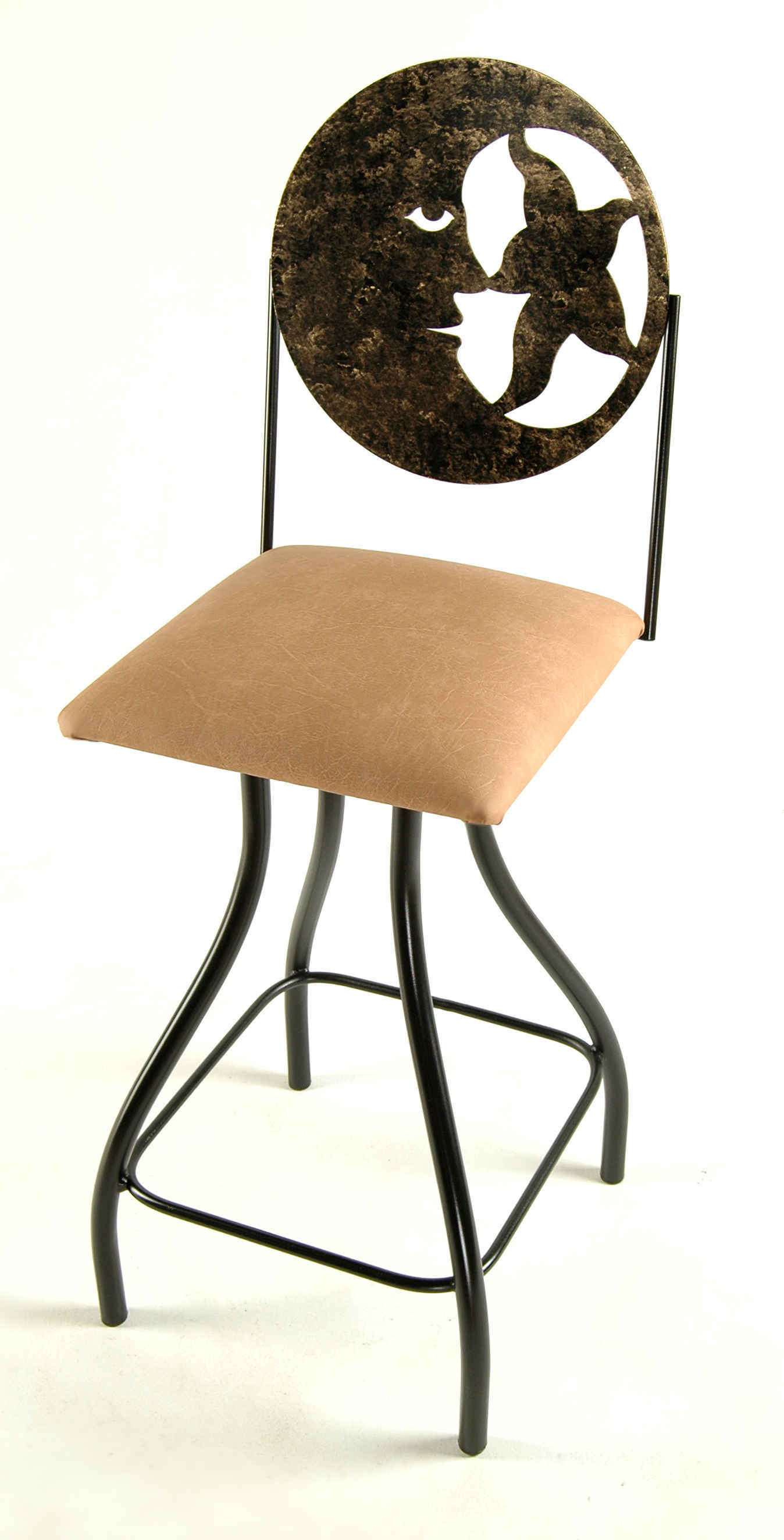 ... Moon Swivel Kitchen Counter Stool In Black Finish With Upholstered  Cushion ...