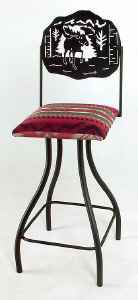 Moose Wrought Iron Bar Stool