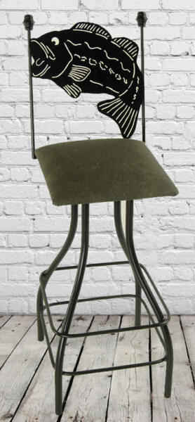 Bass fish swivel bar stool