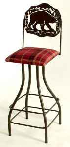 Bear wrought iron bar stoo with swivel seat