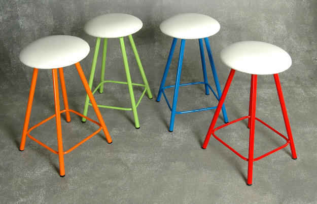 backless swivel stools in bold colors