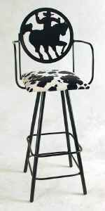 Wrought iron cowboy back swivel bar stool with arms
