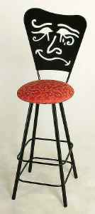 Swivel bar stool with Mardi Gras metal back pattern