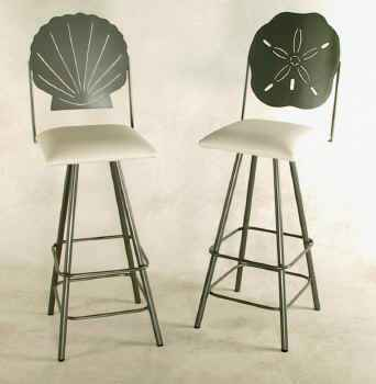 Swivel wrought iron stools with sea shells