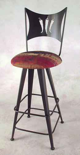 Chili Peppeer Swivel Bar Stool with peppers cutout on back