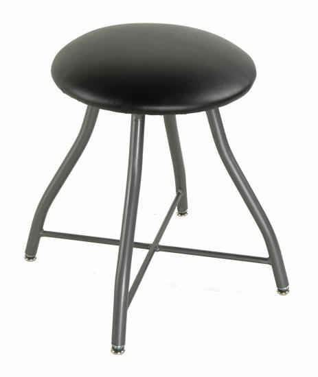 swivel vaninty stool with waterproof black seat and gun metal finish