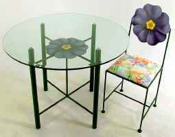 Hand painted primrose flower dining chair with table base and glass top