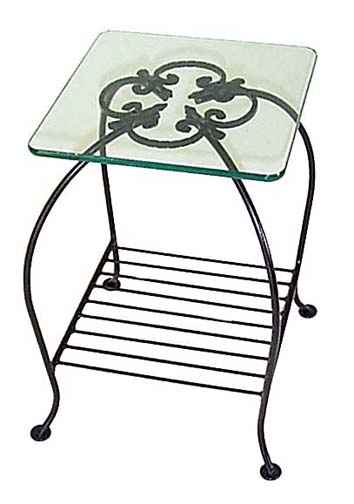 Small Wrought Iron Table With Gl Top