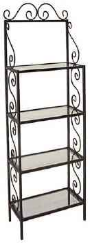 24 inch metal bakers rack with tempered glass shelves