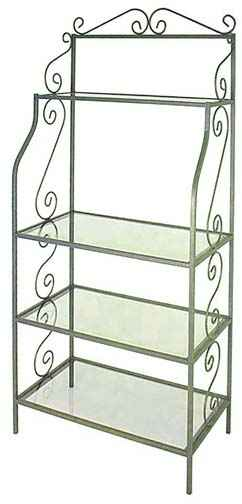 wrought iron bakers rack with glass rh grace collection com metal bakers rack with glass shelves Stained Glass Storage Rack