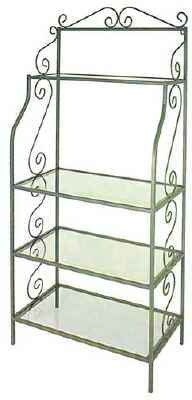 French traditional wrought iron etagere with iron side scrolls and tempered glass shelves