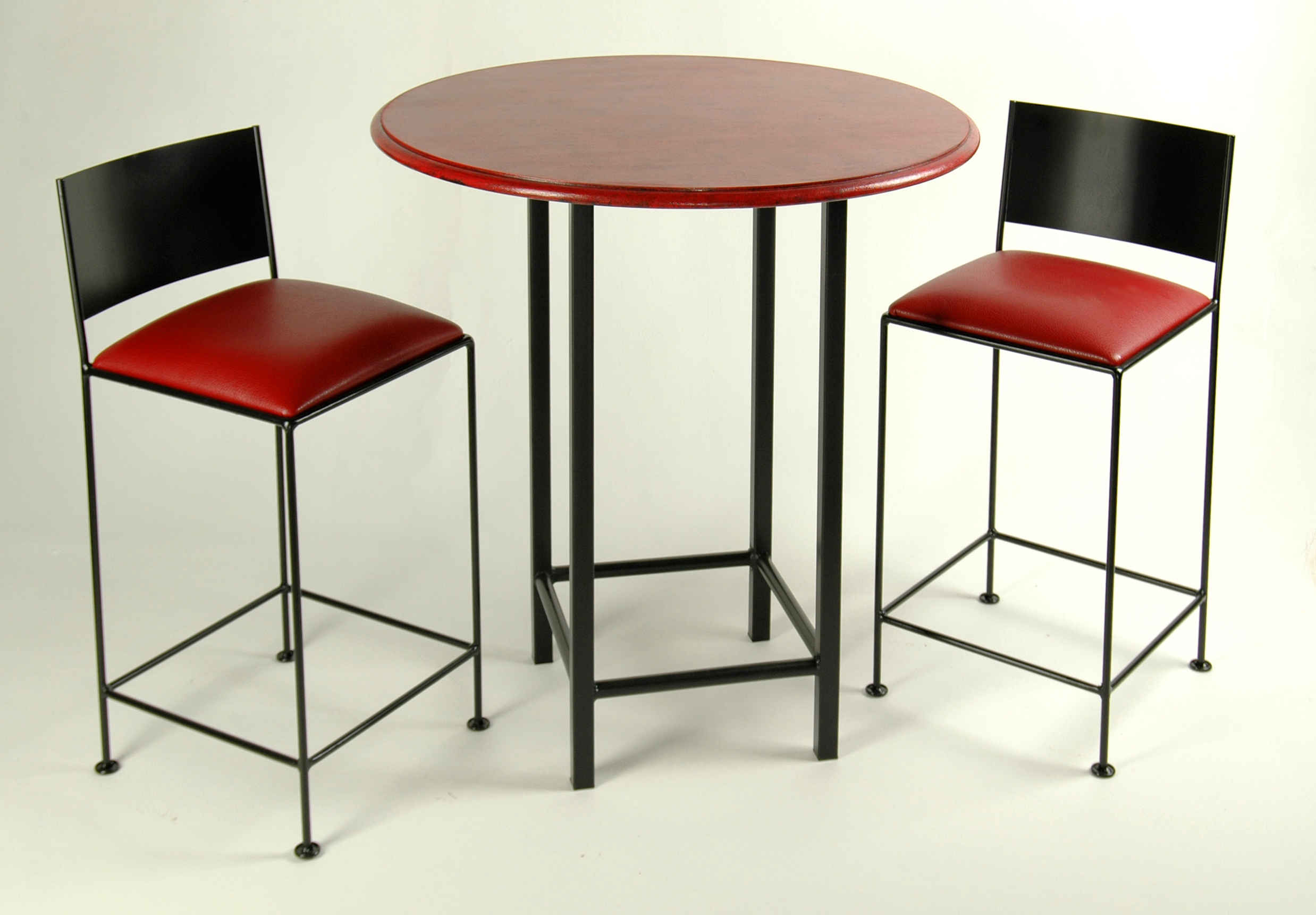 Attractive Black And Red Bitro Bar Set With 24 Inch Stools And 36 Table