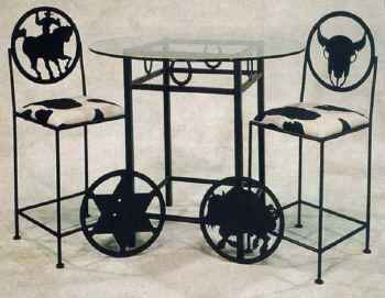 Cowboy, steer, buffalo and sheriff's start bar height dining group with table base and glass top and