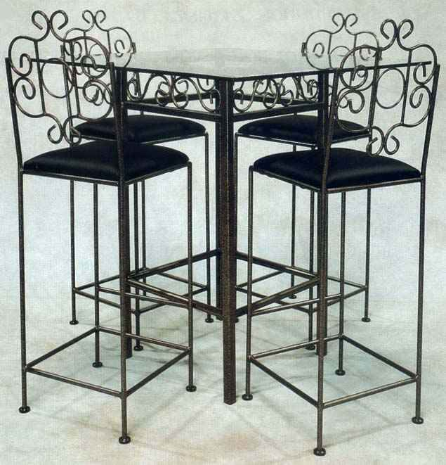 French Wrought Iron Bar Stool Group With Table And Glass Top