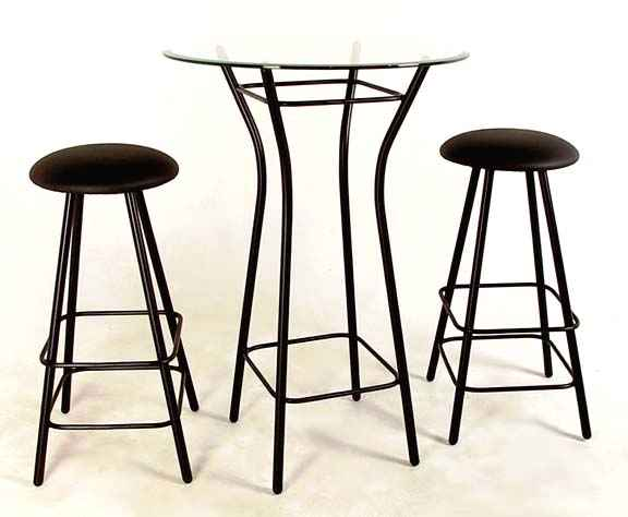 Tall Wrought Iron Bar Set With Table And Glass Top