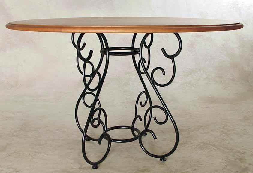 Wrought Iron Scroll Dining Table Base With Wood Top