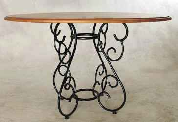 Small wrought iron base with wood top