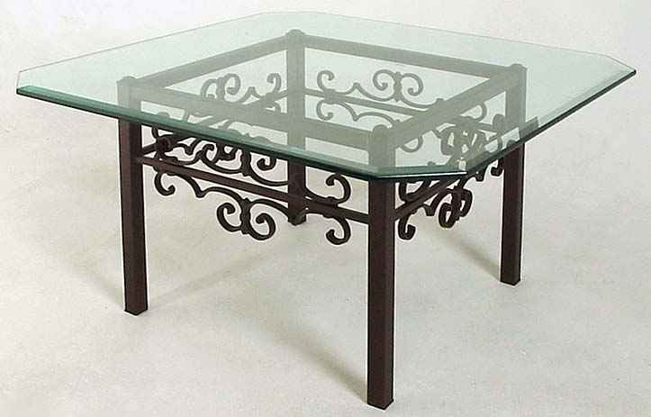 Gothic Curl Metal Table With Glass Top