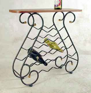 Wrought iron wine rack display console with wood top