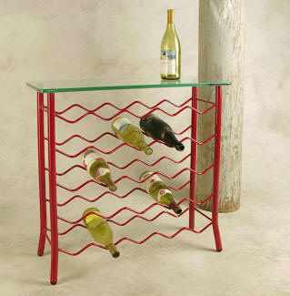 Wrought iron wine rack server with glass table top in red finish