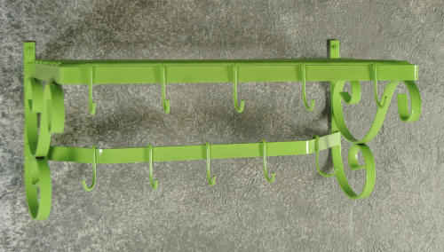 Wall mounted pot rack and hooks in lime green finish