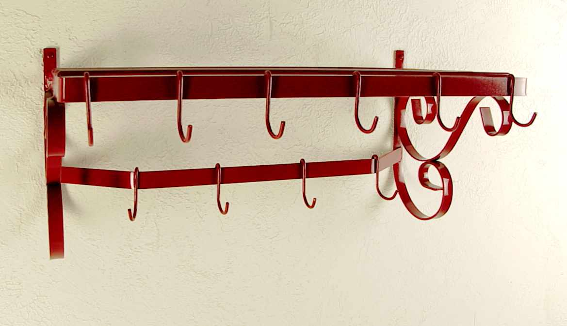 Wall Mount Pot Rack with Bar