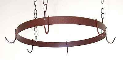 Round Butcher Ring Wrought Iron Pot Rack With Chain and Hooks