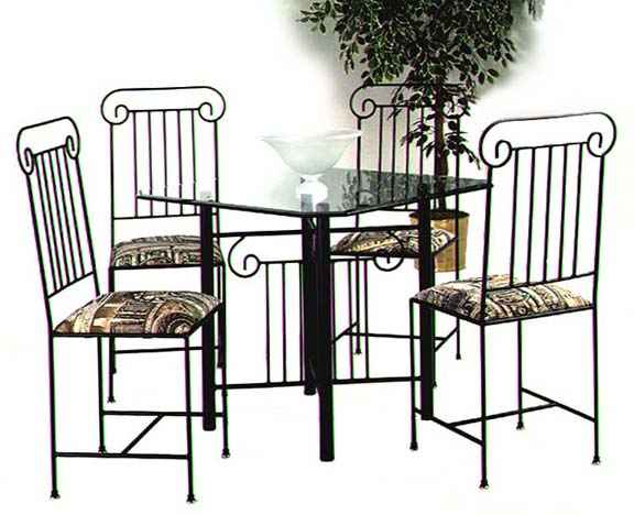 Roman column wrought iron dining table set with glass top  sc 1 st  Grace Wrought Iron & Dining Chairs and Tables