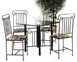 Roman column wrought iron dining table set with glass top